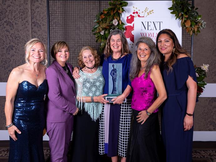 2018 Woman of the Year Supreme Winner Prof Philippa Howden-Chapman (fourth from left) with previous supreme winners.