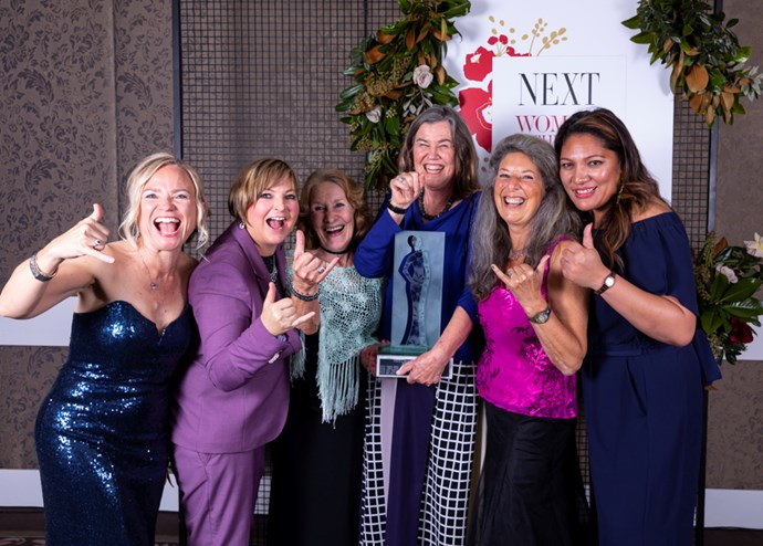 Past winners of NEXT Woman of the Year with this year's winner: Dr Emma Parry, Billie Jordan, Kristine Bartlett, Philippa Howden-Chapman, Julie Bartlett, Sita Selupe.