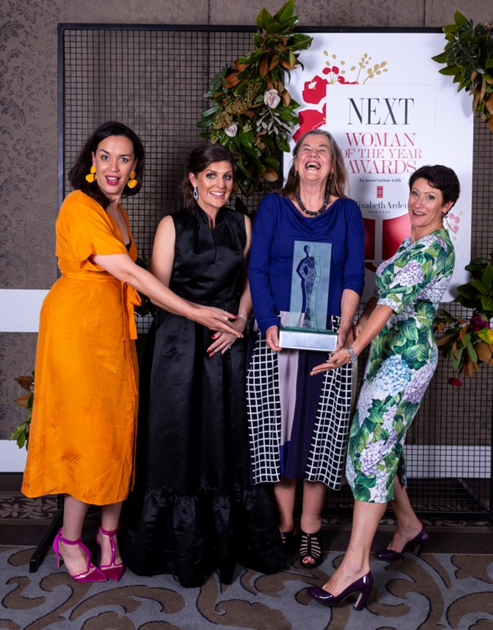 Supreme winner Prof Philippa Howden-Chapman (3rd from left) with judges (l-r) Kanoa Lloyd, Rachael Russell and Miranda Burdon.
