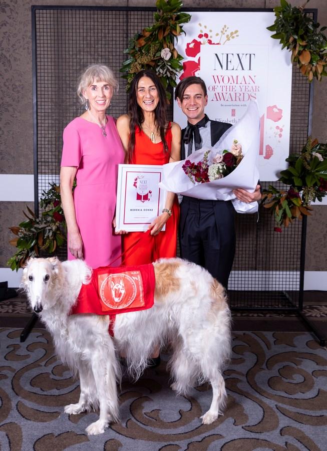 Annette Babajan, Community winner Merenia Donne, Kerry Ranganui, and Nina the dog.