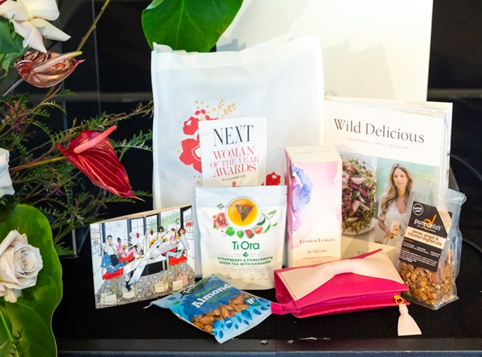 The gift bag for guests, including Elizabeth Arden, Linden Leaves, Amber Rose's new book Wild Delicious, Ti Ora tea and Fresh Life almonds.