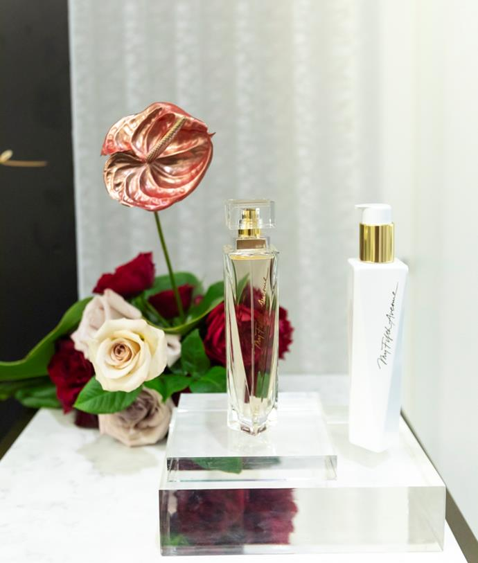 The room was scented with Elizabeth Arden's latest fragrance My Fifth Avenue.