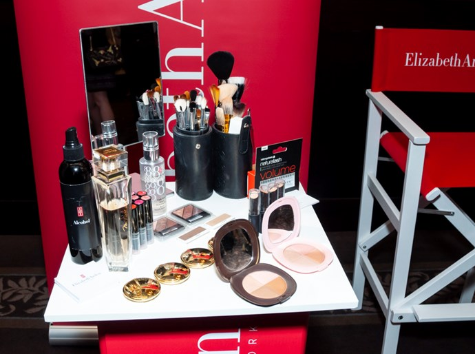 Elizabeth Arden makeup touch-up stations.