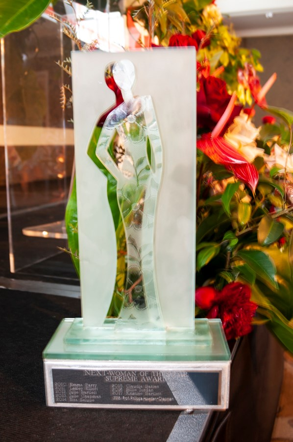 The NEXT Woman of the Year Supreme Award trophy, by glass artist Lari Stewart.