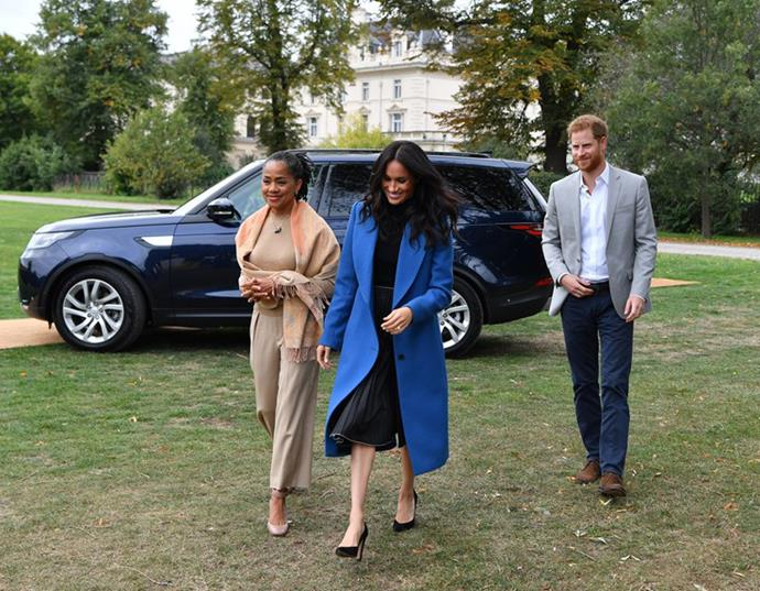 Meghan and Harry with Meghan's mum Doria on a recent visit to London.