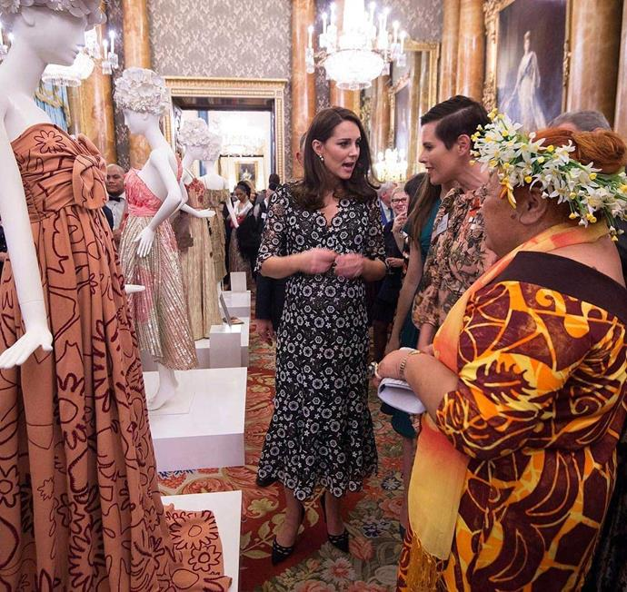 At Buckingham Palace in June earlier this year. Karen represented New Zealand as part of the Commonwealth Fashion Exchange and met Catherine, Duchess of Cambridge.