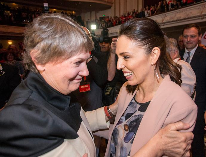 Helen greets Jacinda Ardern at the Labour Party campaign launch, 2017