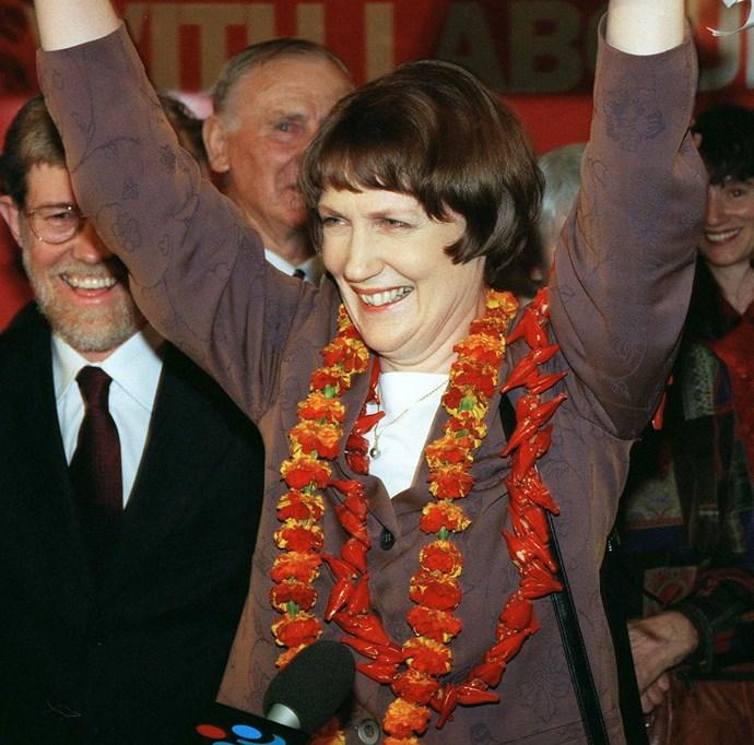 Prime Minister elect Helen Clark celebrates on election night, 1999