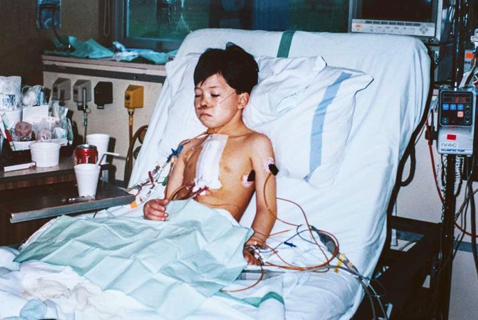 Tayler in hospital aged 6 after another operation.