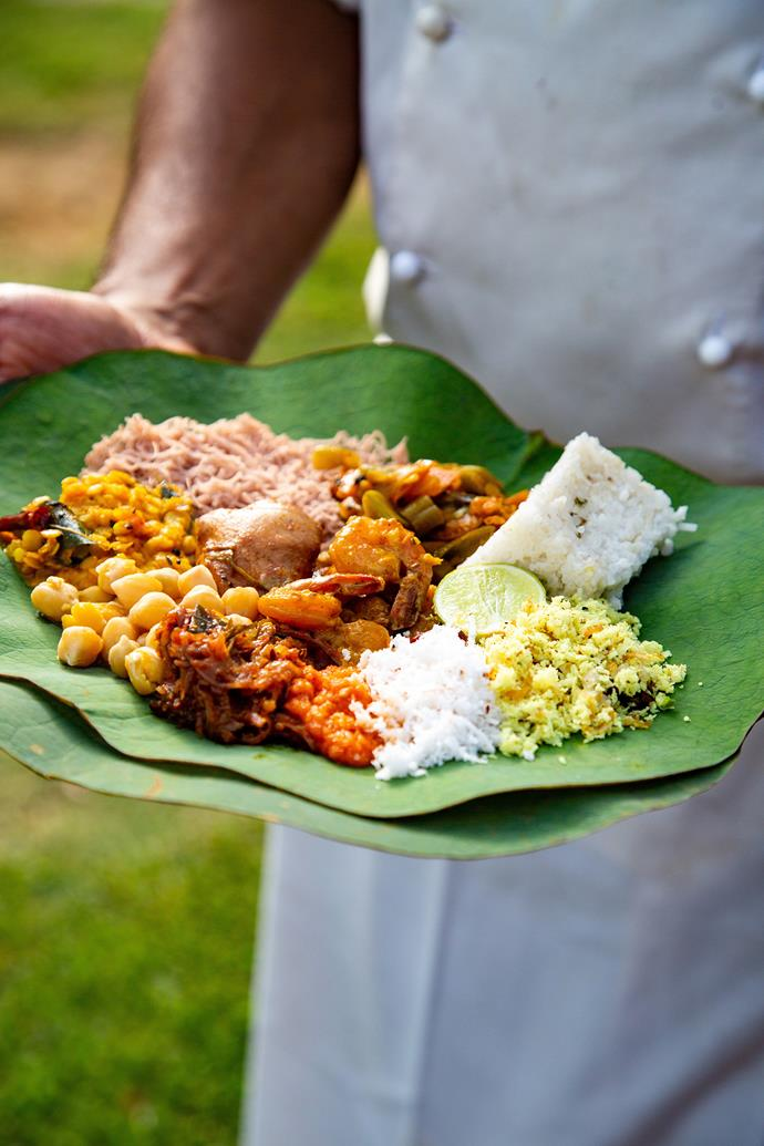 A traditional Sri Lankan breakfast.