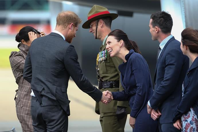 Their Royal Highnesses meeting Prime Minister Jacinda Ardern.