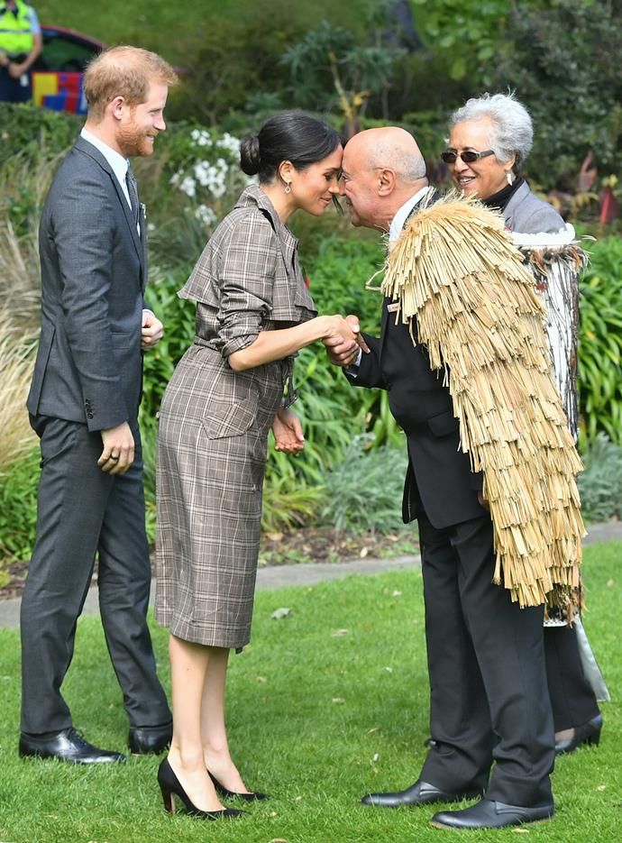 Meghan looked right at home as she took part in a hongi.