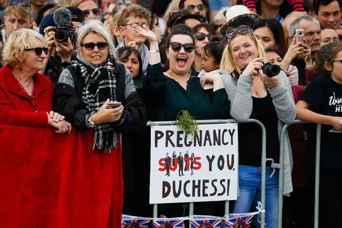 Very excited fans waited to catch a glimpse of the Duke and Duchess of Sussex.