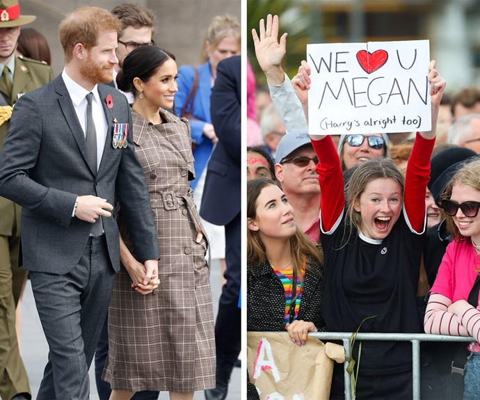 It's Prince Harry and Duchess Meghan fever! Fans go wild with excitement during the pair's public walkabout in Wellington