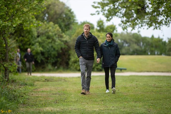 Harry and Meghan in rainy Abel Tasman National Park.