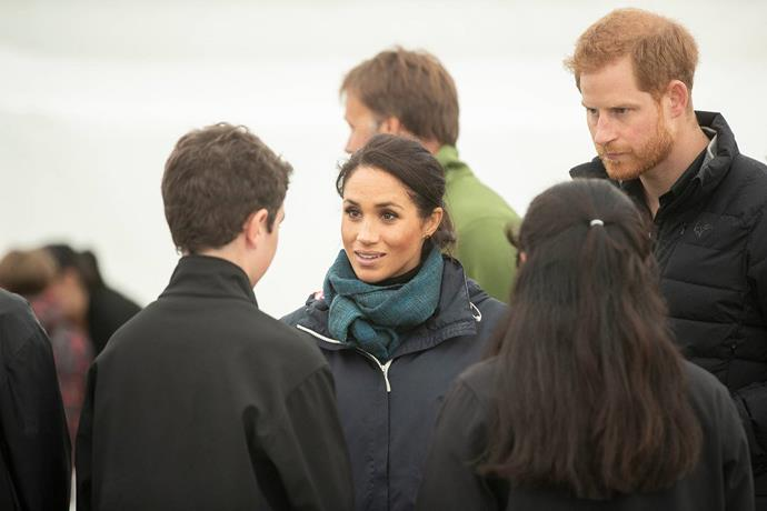 Duchess Meghan and Prince Harry chatted with local school children.