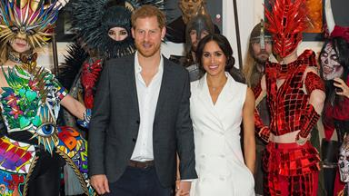 Prince Harry and Duchess Meghan get up close and personal with an orc at Courtney Creative