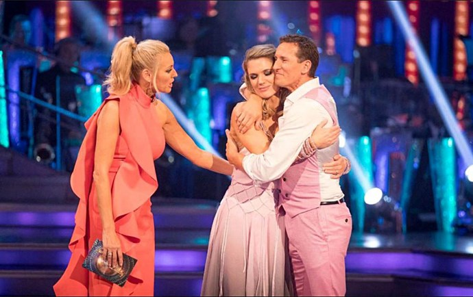 Brendan hugs dance partner, ITV presenter Charlotte Hawkins, after they were voted off the 2018 show - before his contract was not renewed by the BBC.