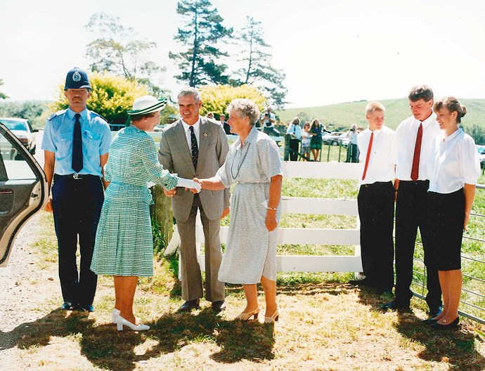 Don and June welcome the Queen onto their farm. Photo: Richard Wallace