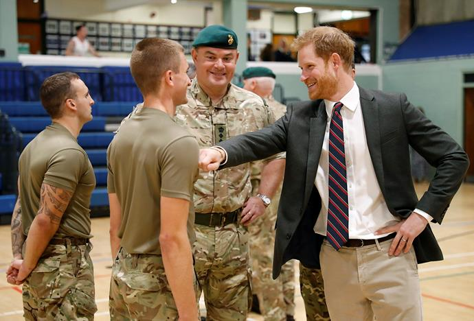Harry with Royal Marines.