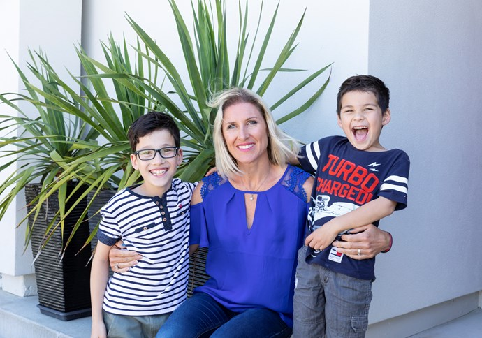 Karina with sons Caleb (left) and Ryan.