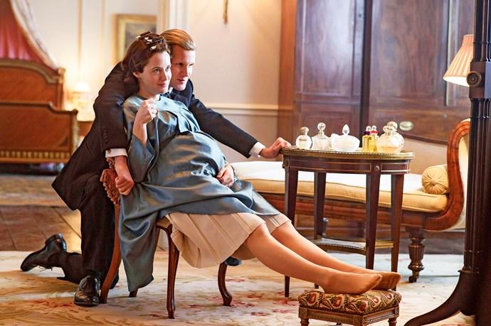 Claire as young Queen Elizabeth in *The Crown* opposite Matt Smith