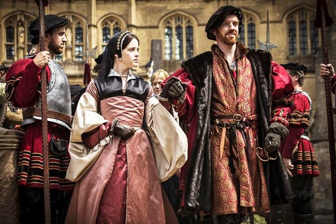 In *Wolf Hall* as Anne Boleyn with co-star Damian Lewis