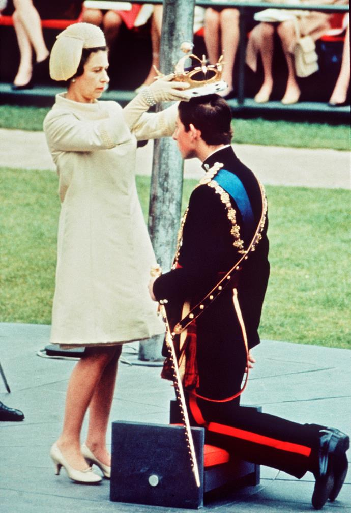 **July 1, 1969**  Charles is crowned Prince of Wales by his mother in a televised ceremony held at Caernarfon Castle in Wales.