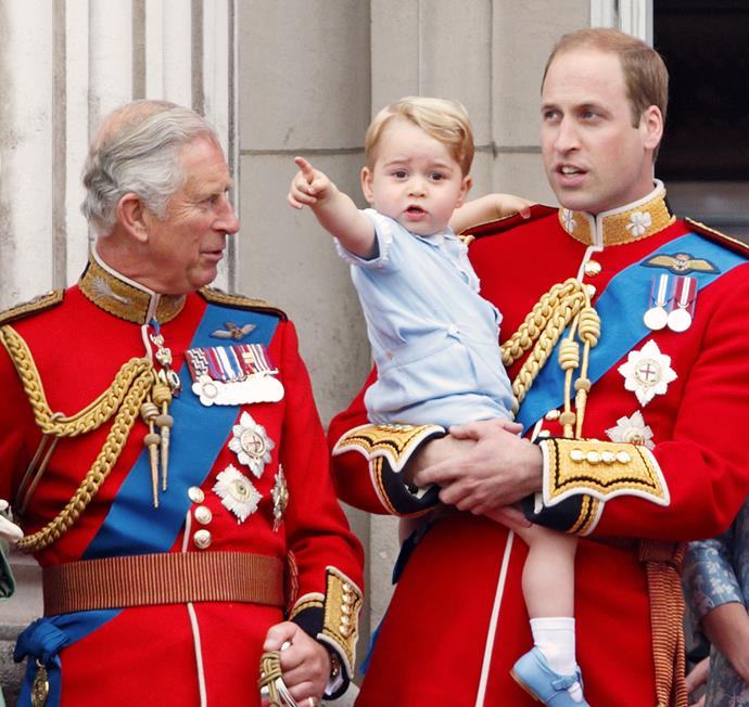 **July 22, 2013**  Charles becomes a granddad for the first time after his daughter-in-law Catherine, Duchess of Cambridge, gives birth to Prince George.