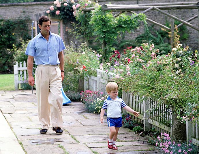 Prince Charles and Prince Harry, aged nearly two, enjoying the flowers in 1986.