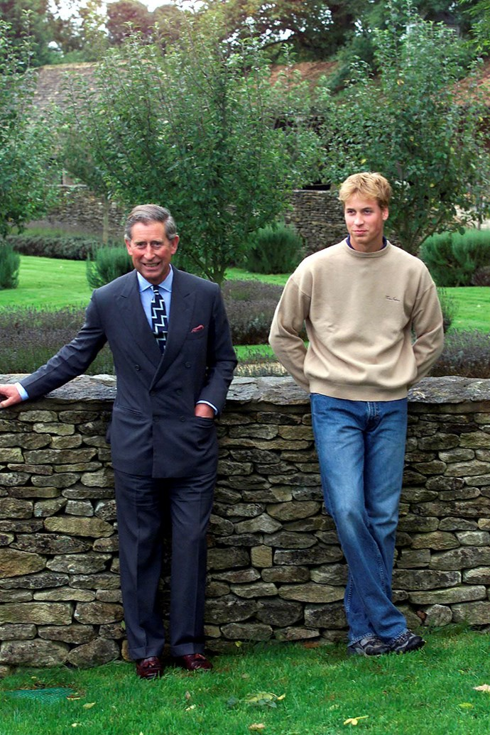 Prince William at Highgrove with his father in 2000.