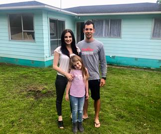 Cassie Arouzo and Myron Simpson - first-time home owners from Auckland.