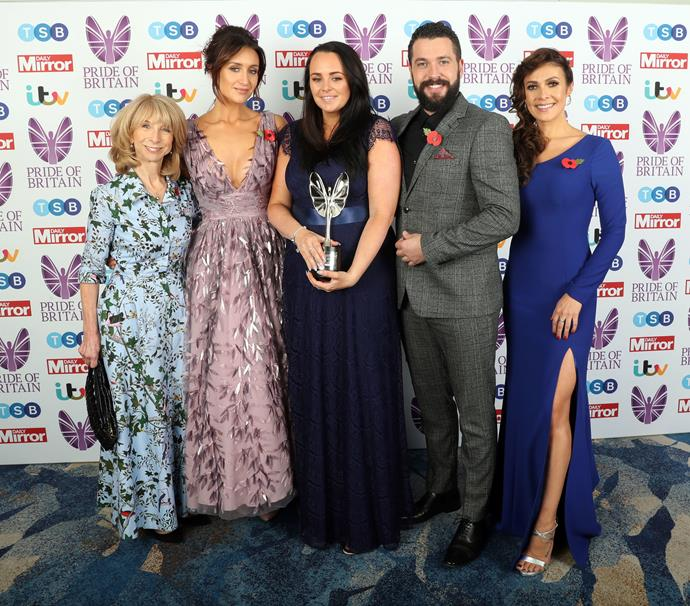 Catherine with some of her fellow *Coro St* cast members at the Pride Of Britain Awards 2018