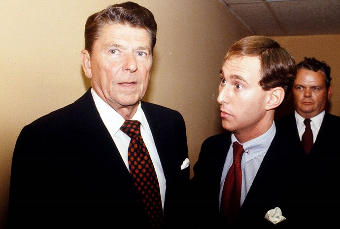 Stone with Ronald Reagan during the 1980 campaign.