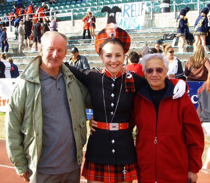 Hayley (pictured with her grandparents) comes from a family of accomplished marchers