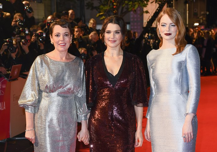 Olivia Colman, Rachel Weisz and Emma Stone attend the UK premiere of *The Favourite*. *Image: Getty*