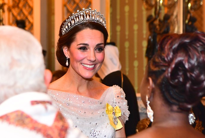 The Cambridge Lover's Knot tiara seems to be Catherine's favourite. *(Image: Getty)*