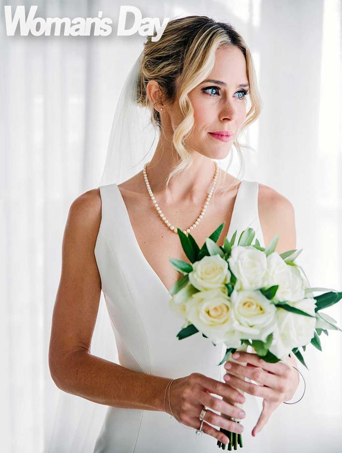 The stunning bride wears her beloved nana's pearls. *Photo: Sacha Stejko*
