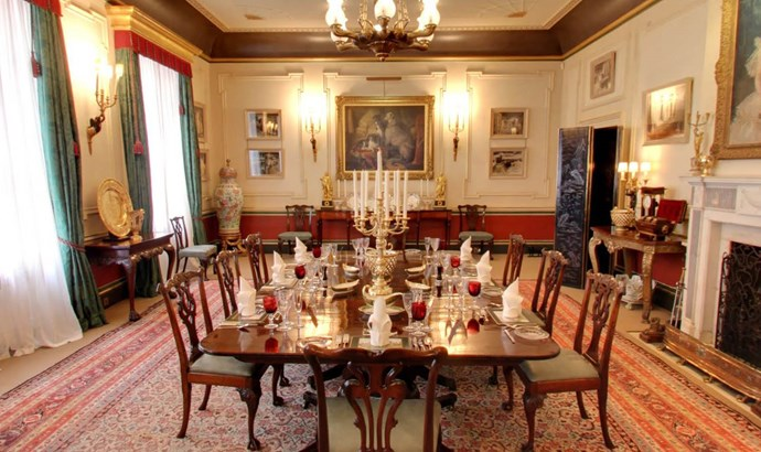 """**The Dining Room.** According to a Clarence House spokesperson, """"The Dining Room is often used when His Royal Highness hosts large meetings at Clarence House. But it has also witnessed some really memorable family occasions, such as the dinner hosted for Her Majesty The Queen and The Duke of Edinburgh, in honour of their Diamond wedding anniversary."""""""