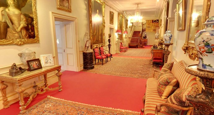 The Entrance Hall includes an impressive collection of ceramics and art. At the far end hangs the Queen Mother's Garter Banner. According to the Clarence House website,  'Garter Banners belong to Knights and Ladies of The Order of the Garter - the oldest and most senior Order of Chivalry in Britain.'