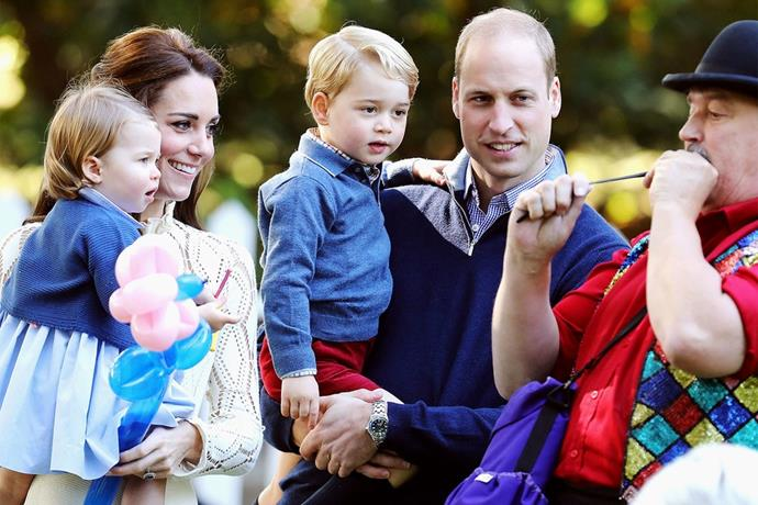 The Cambridge family released a more candid image in 2016 - look how charmed George and Charlotte are! This picture was from their royal visit to Canada.