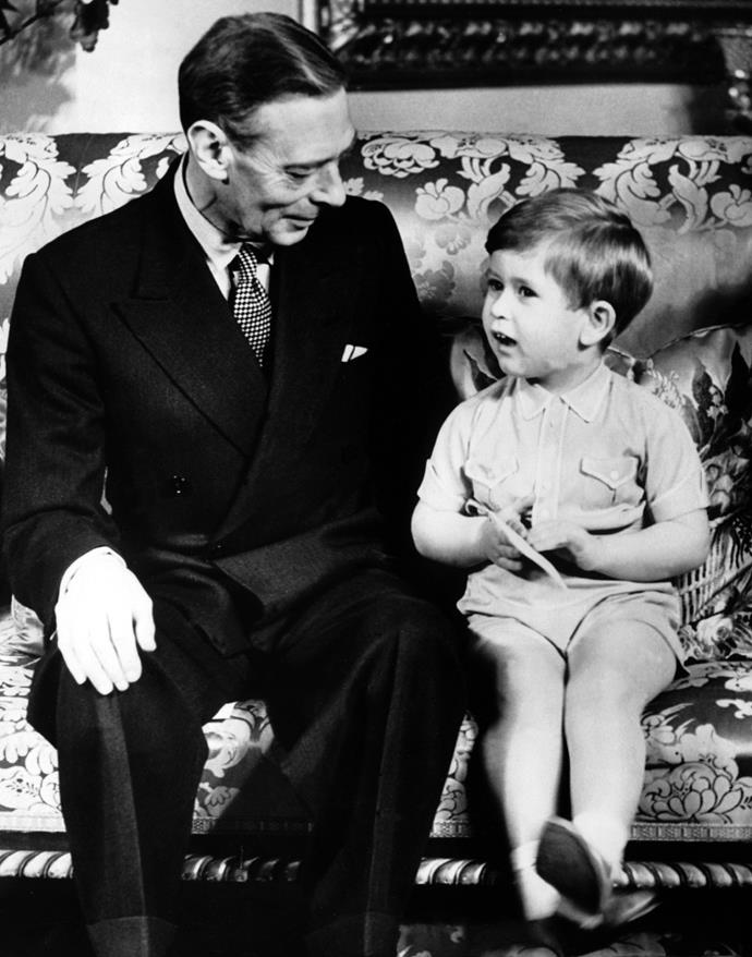 King George VI with grandson Prince Charles in 1951.