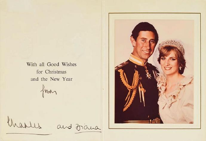Prince Charles and Princess Diana sent this Christmas card out 1981 following their wedding.