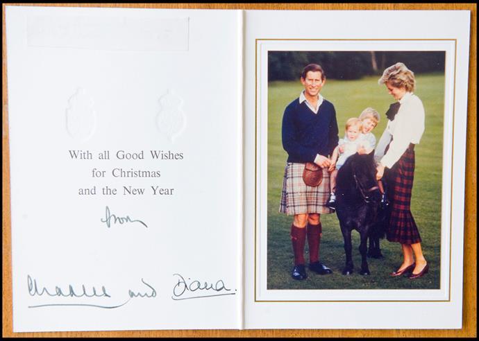 A happy Charles and Diana pose in a Scottish themed card in 1985 with William and Harry on a miniature pony.