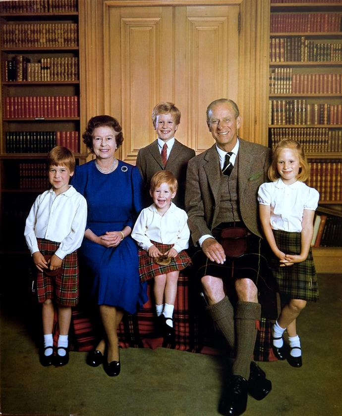 "Queen Elizabeth's Christmas card with [Prince Philip](https://www.nowtolove.co.nz/celebrity/royals/inside-prince-philips-private-world-15566|target=""_blank"") and their grandchildren, Prince William and Prince Harry, and Zara and Peter Phillips in 1987."