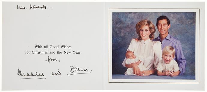 Charles and Diana chose a formal setting for their 1984 Christmas card with a two-year-old William and newborn baby Harry.