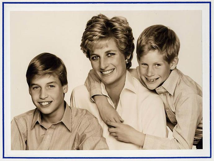 Princess Diana chose a more formal, but also relaxed photo for her 1994 card.