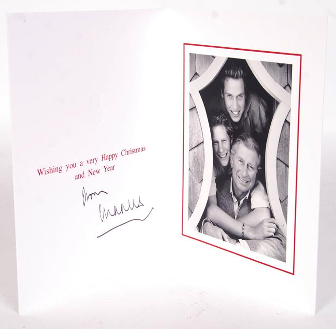 Prince Charles, along with Prince Harry and Prince William, sent this fun card in 2003, shot by Diana's favourite photographer Mario Testino.