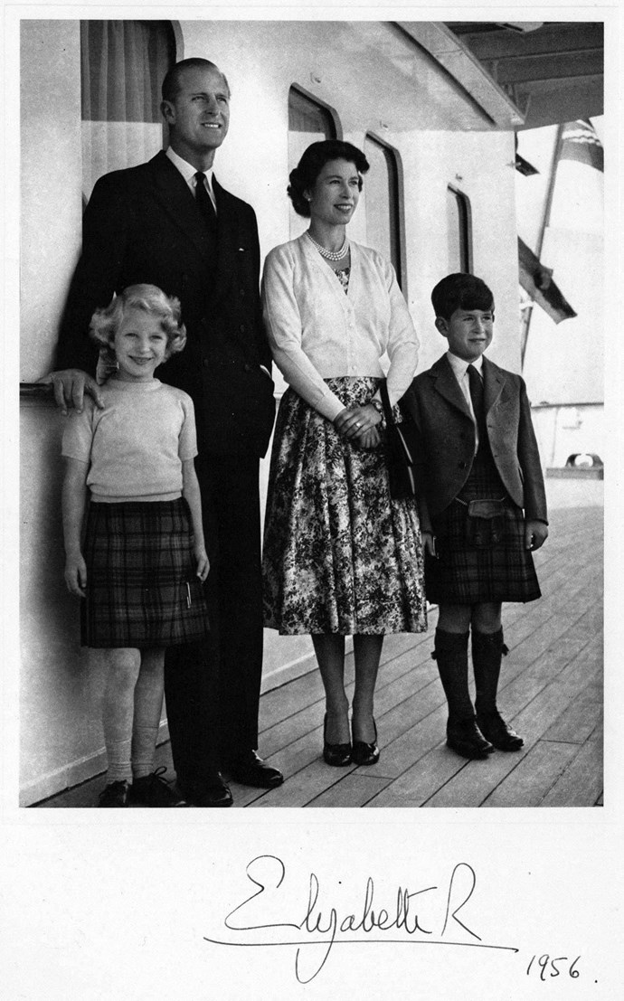 The Queen, along with Prince Philip and their Children Princess Anne and Prince Charles, posed for their 1956 Christmas card aboard the royal yacht Britannia.