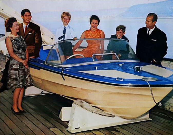 The royal family looked like they were having a good time in their 1969 Christmas card! The Queen, Prince Philip, Prince Charles, Princess Anne, Prince Andrew and Prince Edward happily pose aboard the Royal Yacht Britannia - their children piled upon a speedboat.